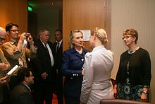 Secretary of State Hilary Clinton and Ukrainian Fatherland  Party leader Yulia Temoshenko at a reception held in Kiev in 2010.