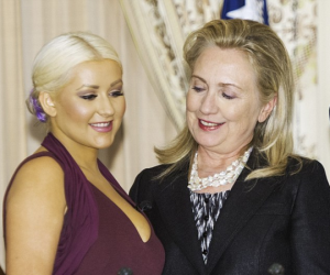 Christina Aguilera chats Hilary Clinton eyeing her cleavage