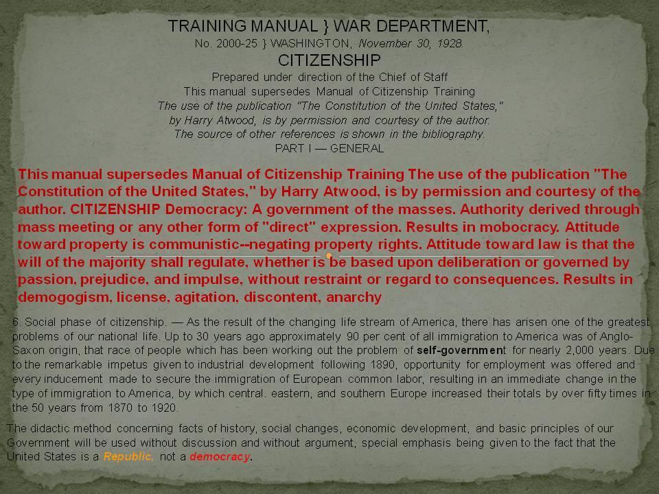 1929 DOD War Department Immigration Training Manual